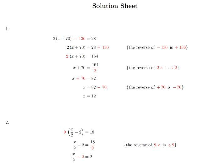 Linear Equation Fractional Linear Equation One Variable Equation Worksheets