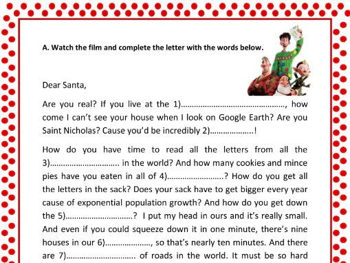 Arthur christmas a letter to santa by smartenglish teaching cover image spiritdancerdesigns Image collections