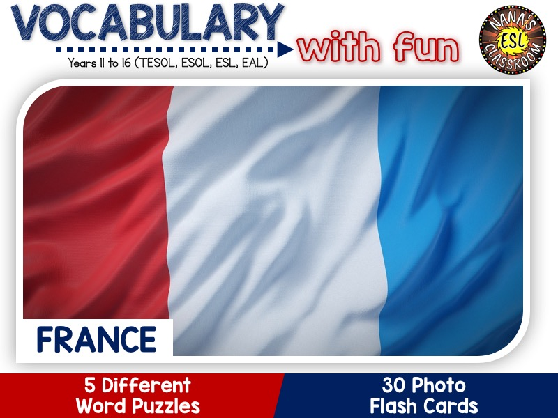France - Country Symbols: 5 Different Word Puzzles and 30 Photo Flash Cards (IGCSE ESL, TESOL, ESOL)