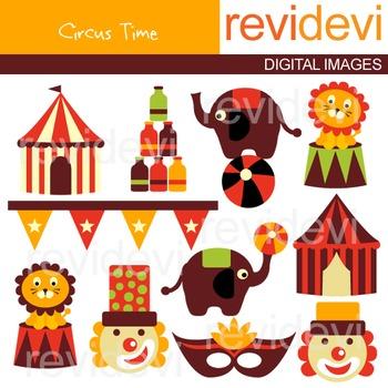 Clip art: Retro Circus (elephants, clowns, tent, lions) clipart