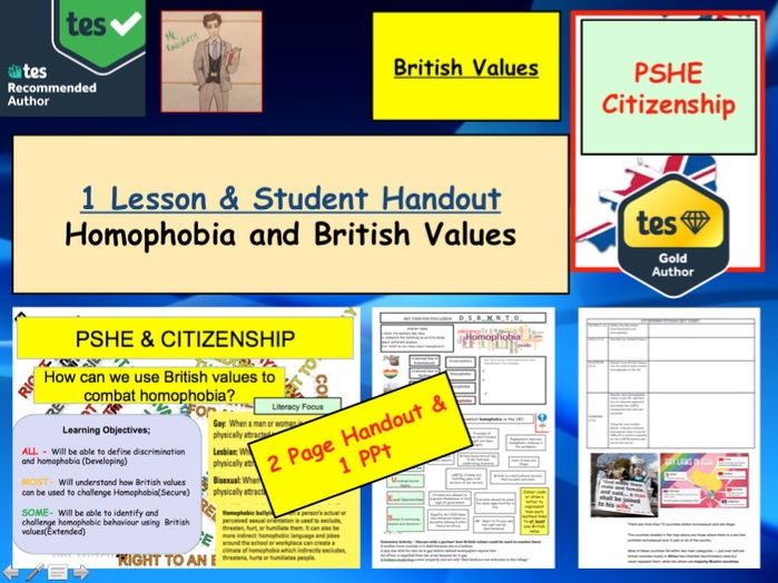 Homophobia and British Values. PSHE and Citizenship
