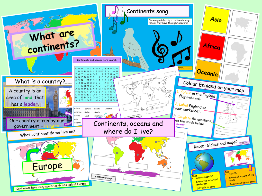 Map Of Asia Ks1.Animated Continents Oceans England Interactive Ppts Lesson Plan Games Worksheets Etc Ks1 Ks2 Ks3