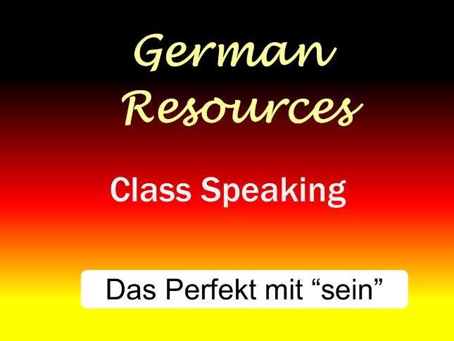 """German Activities - Das Perfekt mit """"sein"""" - Class Speaking"""