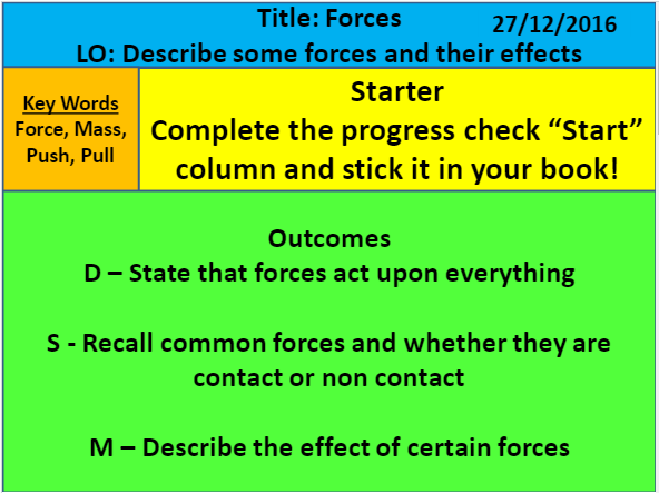 Forces lesson ks3