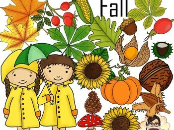 Fall / Autumn Clip Art 40 images in BW & Color