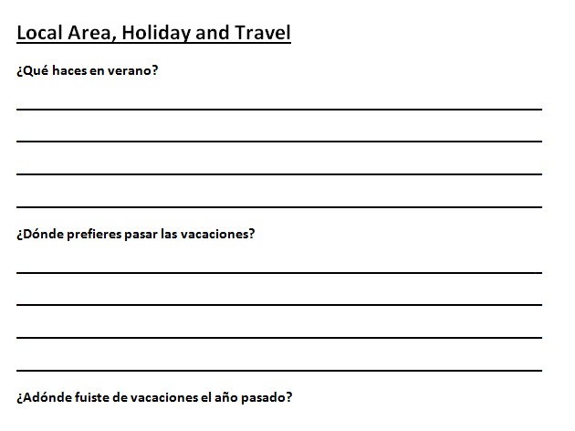 General Conversation Booklet Spanish EDEXCEL GCSE 1-9