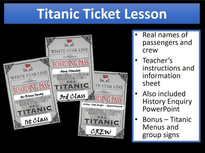 Titanic Ticket hook activity and full lesson