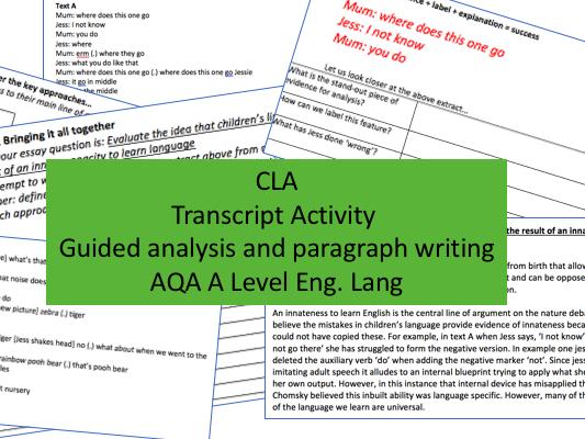 Spoken Child Language Acquisition Transcript Analysis Activity | A Level English Lang AQA New Spec