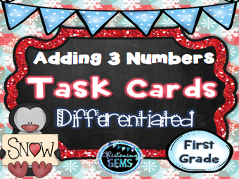 Adding 3 Numbers Differentiated Task Cards - Winter Theme