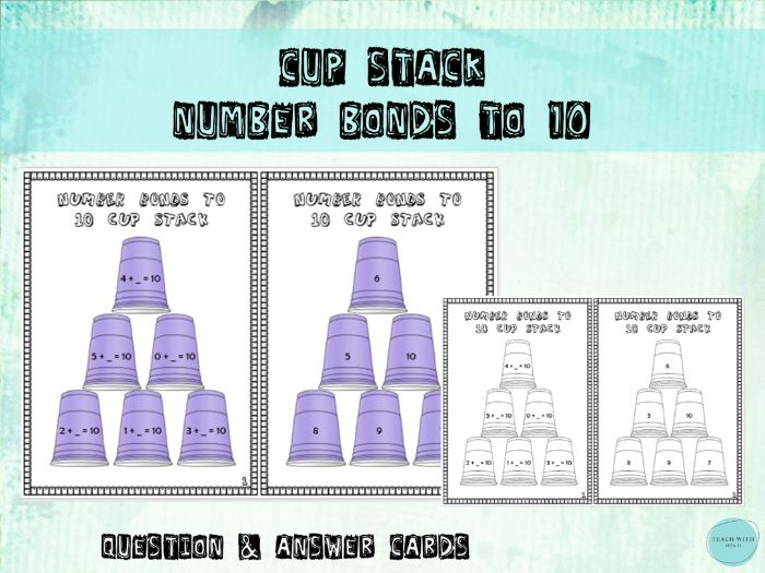 Number Bonds to 10 Cup Stacking Math Game / Activity