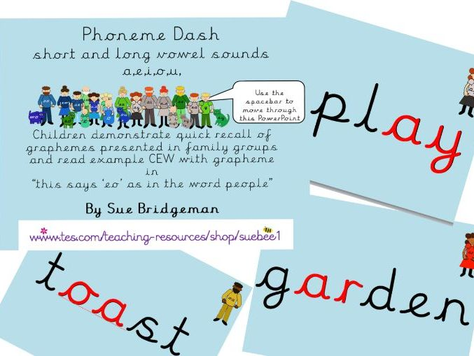 Phoneme dash 2 and 3 short and long vowel sounds, a, e, i, o, u and long vowel ar