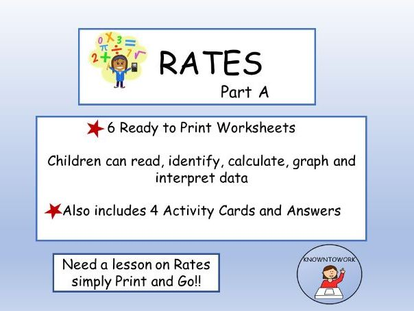 RATES(A)  Worksheets and Activity Cards