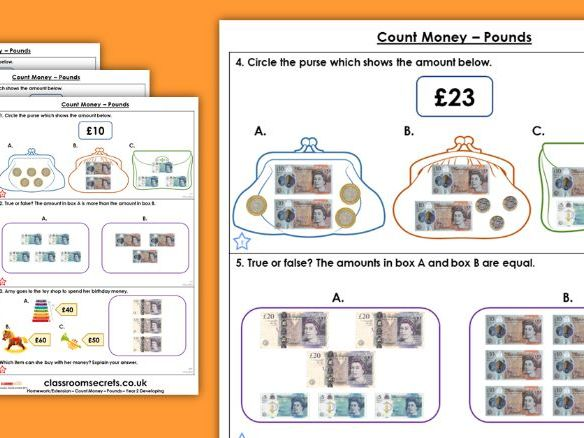 Year 2 Count Money Pounds Autumn Block 3 Maths Homework Extension