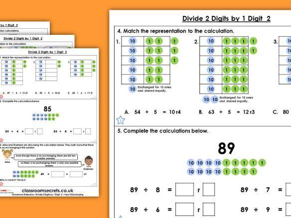 Year 4 Divide 2-Digits by 1-Digit 2 Spring Block 1 Maths Homework Extension