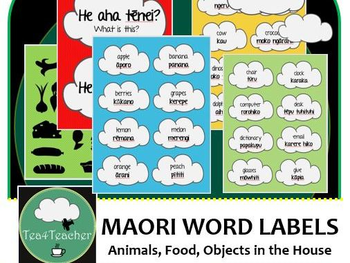 Maori Word Wall Labels - Learn Te Reo 250+ labels Food Bathroom Animals Kitchen Insects Office +