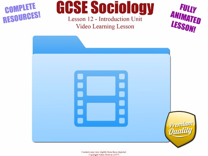Video Learning Lesson - Introduction Unit L12/12 - GCSE Sociology