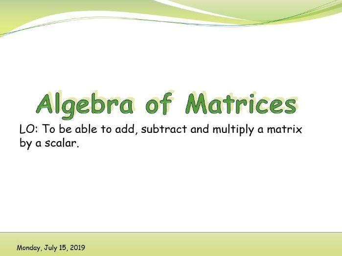 IB Applications and interpretations - Algebra of matrices