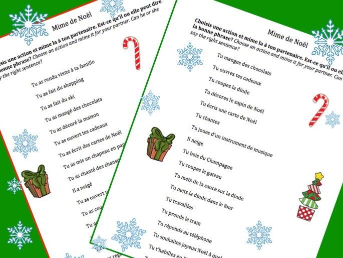 Christmas - Noel  Oral work : Mime de Noel [EDITABLE]