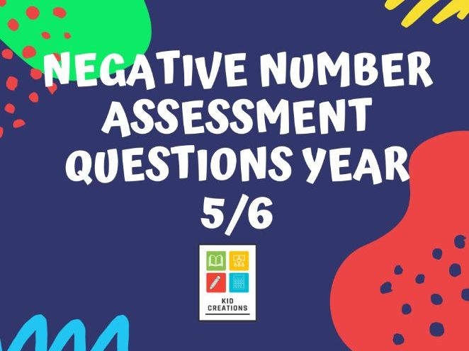 Negative Number Assessment Questions Year 5/6