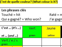 6 x battleships games in French (colours, numbers 1-16, days of the week, weather, seasons, months)